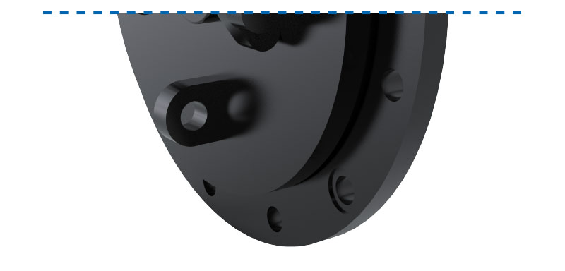Detailed image of flap valve with over moulded steel