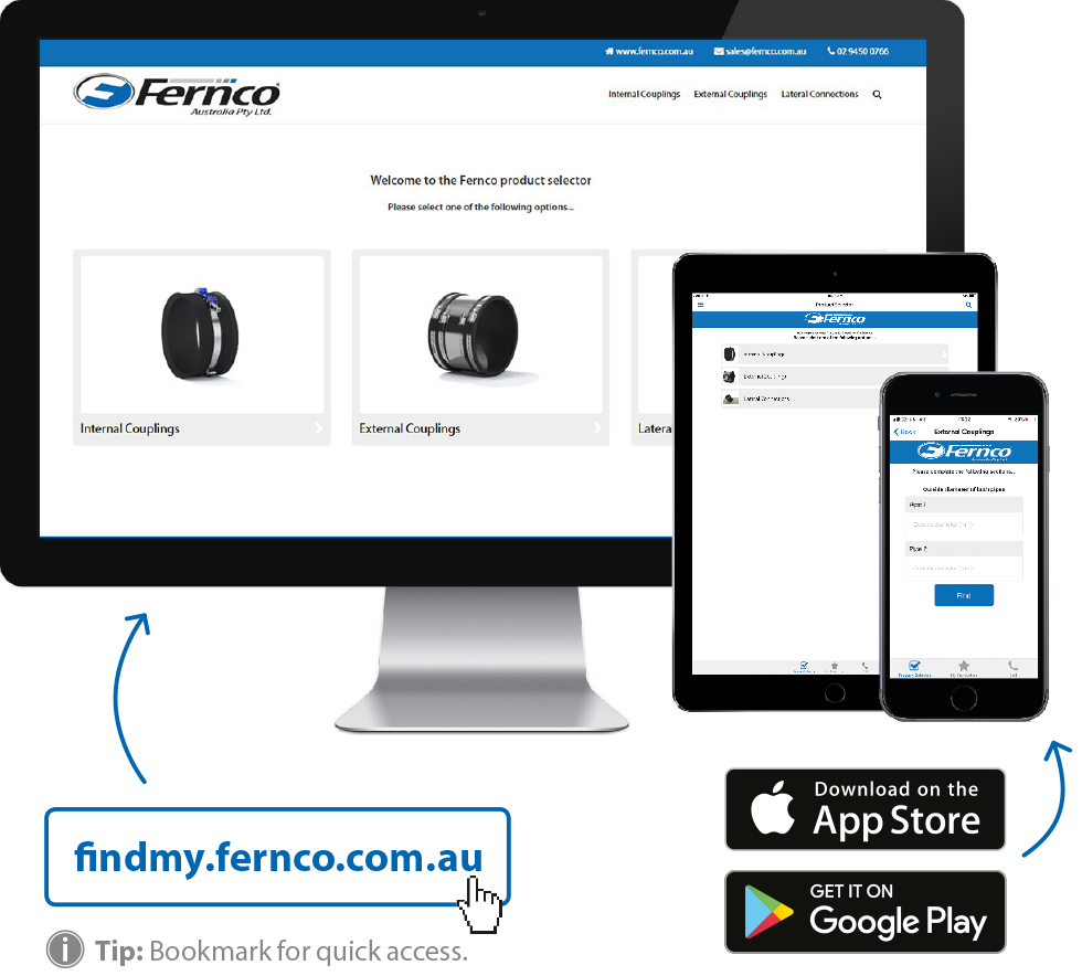 Fernco product selector on multiple devices
